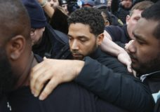 """FILE - In this Feb. 21, 2019 file photo, """"Empire"""" actor Jussie Smollett leaves Cook County jail following his release in Chicago. A Cook County grand jury on Friday, March 8, 2019 has indicted Smollett on 16 felony charges after authorities say he falsely told police that he was attacked by two men in Chicago. (AP Photo/Kamil Krzaczynski, File)"""