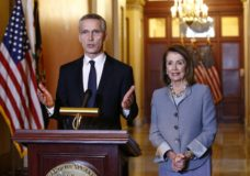 House Speaker Nancy Pelosi of Calif., center, speaks alongside NATO Secretary General Jens Stoltenberg at the beginning of their meeting, Wednesday, April 3, 2019, on Capitol Hill in Washington. (AP Photo/Patrick Semansky)