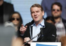 "ILE - In this Oct. 24, 2018, file photo, U.S. Senator Michael Bennet, D-Colo., speaks before Senator Bernie Sanders during a rally with young voters on the campus of the University of Colorado in Boulder, Colo. Bennet says he is seeking the Democratic nomination for president in 2020. The three-term senator made the announcement Thursday on ""CBS This Morning."" He is now among more than 20 Democrats seeking the party's presidential nomination. (AP Photo/David Zalubowski, File)"