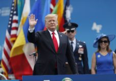 President Donald Trump waves as he takes the stage to speak at the U.S. Air Force Academy graduation Thursday, May 30, 2019 at Air Force Academy, Colo. (AP Photo/David Zalubowski)