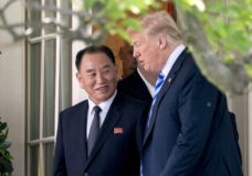 FILE - In this June 1, 2018, file photo, U.S. President Donald Trump, right, talks with Kim Yong Chol, former North Korean military intelligence chief and one of leader Kim Jong Un's closest aides, as they walk from their meeting in the Oval Office of the White House in Washington. A South Korean newspaper is reporting that North Korea executed a senior envoy involved in nuclear negotiations with the U.S. as well as four other high-level officials. (AP Photo/Andrew Harnik, File)