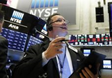 FILE - In this May 23, 2019, file photo trader Edward Curran works on the floor of the New York Stock Exchange. The U.S. stock market opens at 9:30 a.m. EDT on Wednesday, May 29. (AP Photo/Richard Drew, File)