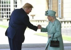 Britain's Queen Elizabeth II greets President Donald Trump as he arrives for a welcome ceremony in the garden of Buckingham Palace, in London, Monday, June 3, 2019, on the first day of a three day state visit to Britain. (Victoria Jones/Pool via AP)