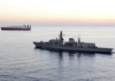 "n this image from file video provided by UK Ministry of Defence, British navy vessel HMS Montrose escorts another ship during a mission to remove chemical weapons from Syria at sea off coast of Cyprus in February 2014. The British Navy said it intercepted an attempt on Thursday, July 11, 2019, by three Iranian paramilitary vessels to impede the passage of a British commercial vessel just days after Iran's president warned of repercussions for the seizure of its own supertanker. A U.K. government statement said Iranian vessels only turned away after receiving ""verbal warnings"" from the HMS Montrose accompanying the commercial ship through the narrow Strait of Hormuz. (UK Ministry of Defence via AP)"